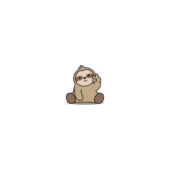 Cute sloth winking eye cartoon icon