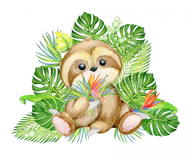 Cute sloth, with a bouquet of tropical leaves and flowers,