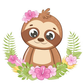 Cute sloth with flowers and a wreath. vector illustration of a cartoon.