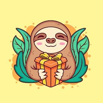 선물 상자와 함께 귀여운 나무 늘보입니다. 만화 아이콘 그림입니다. 노란색 바탕에 동물 아이콘 개념