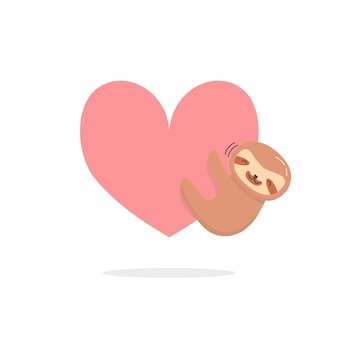Cute sloth with heart