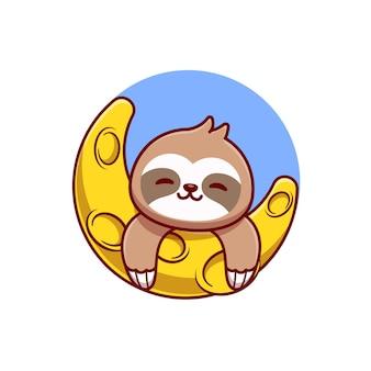 Милый ленивец с луной мультфильм вектор значок иллюстрации