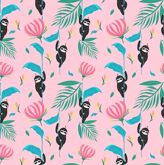 Cute sloth with tropical rainforest plants seamless pattern