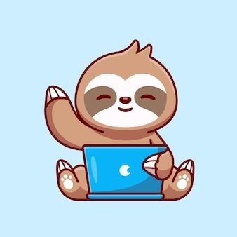 Bradipo sveglio che lavora sull'icona di vettore del fumetto del computer portatile. concetto di icona di tecnologia animale isolato vettore premium. stile cartone animato piatto