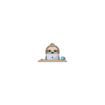 Cute sloth working on a laptop vector