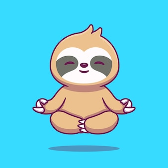 Cute sloth yoga cartoon icon illustration.