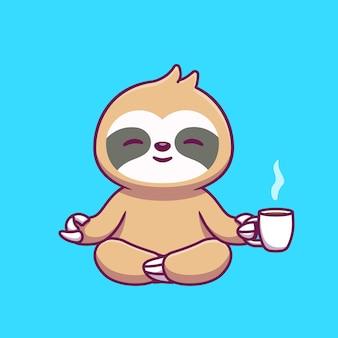 커피 만화를 들고 귀여운 나무 늘보 요가
