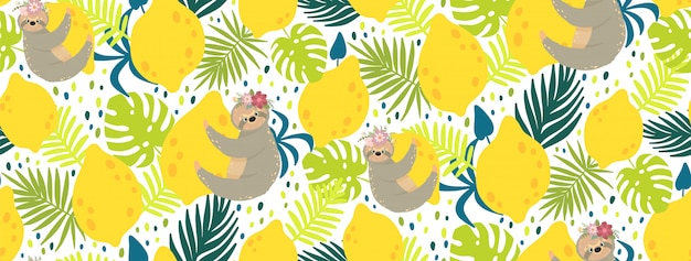 Cute sloths on the yellow lemons surrounded by tropical leaves.