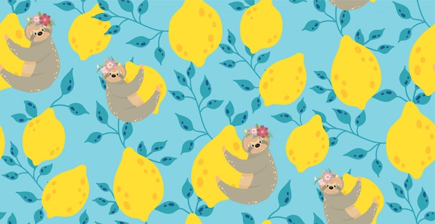 Cute sloths on the yellow lemons.