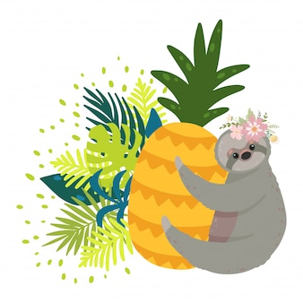Cute sloths on the yellow pineapple surrounded by tropical leaves.