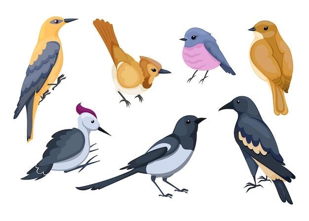 Симпатичные маленькие мультипликационные птицы иллюстрации