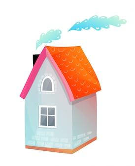 귀여운 작은 별장 집 손으로 그린 사랑스러운 디자인 흰색으로 격리합니다.