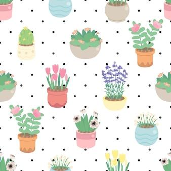 ドットのシームレスなパターンでポットにかわいい小さな花