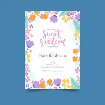Cute small flowers birthday invitation template