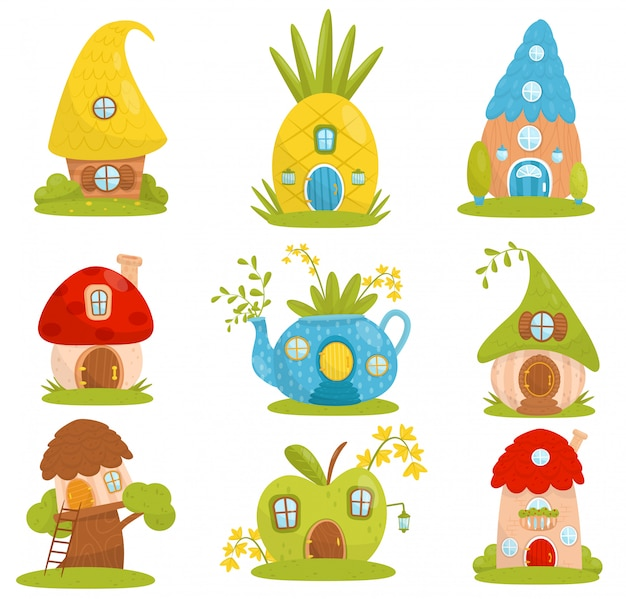 Cute small houses set, fairytale fantasy house for gnome, dwarf or elf  illustrations on a white background