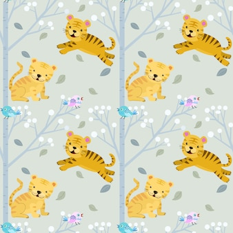 Cute small tiger in forest seamless pattern.