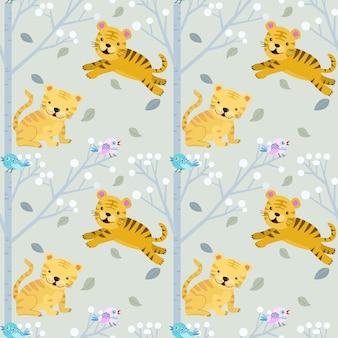 森のシームレスパターンでかわいい小さな虎。