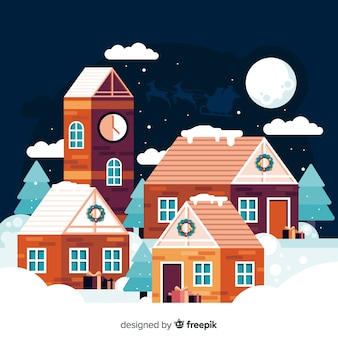 Cute small town flat christmas background