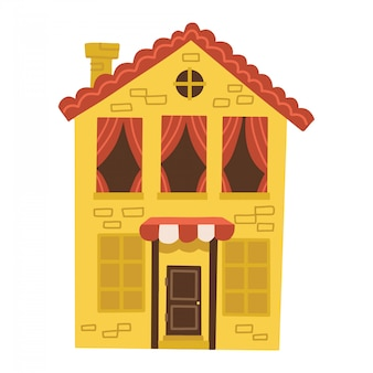 Cute small yellow house with red tile roof and many windows with shutters and a door. traditional european home. cartoon building. flat illustration