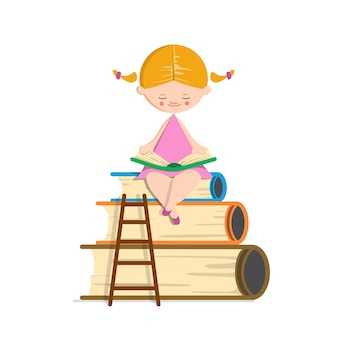 Cute smart blond girl reading book on white isolated background.