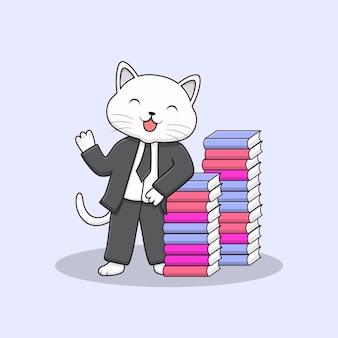 Cute smart elegant cat with tuxedo and books