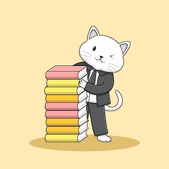 Cute smart elegant cat with tuxedo
