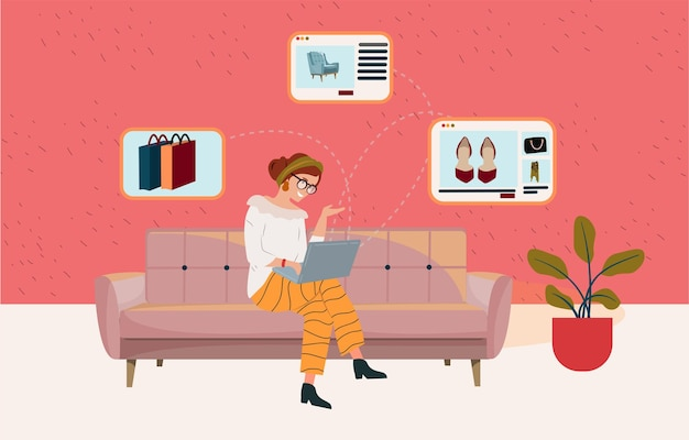 Cute smart woman sitting on the sofa with laptop computer and doing online shopping shopping on social networks client care convenient service online shopping vector illustration