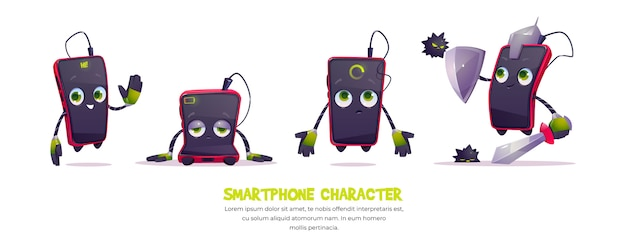 Cute smartphone character in different poses
