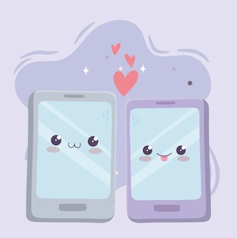 Cute smartphone devices love kawaii cartoon character