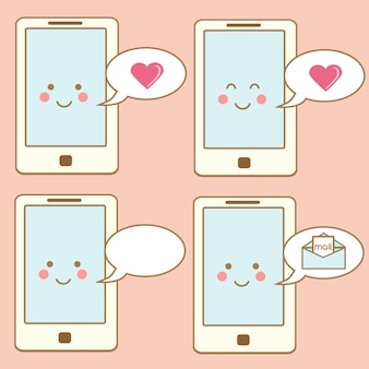 Cute smartphone icons, design elements. kawaii smiling mobile phone character with speech bubbles