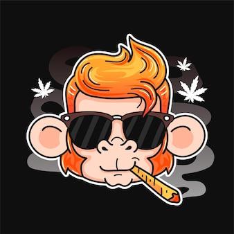 귀여운 미소 재미있는 원숭이 흡연 대마초 조인트. 벡터 만화 캐릭터 플랫 라인 그림입니다. 흰색 배경에 고립. 원숭이, 대마초, 대마초, 포스터, 티셔츠를 위한 마리화나 냉각 인쇄 디자인
