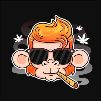 Cute smile funny monkey smoking weed joint. vector cartoon character flat line illustration. isolated on white background. monkey, weed, cannabis, marijuana chill print design for poster, t-shirt