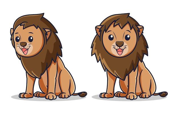 かわいい笑顔のライオンのベクトルのデザイン