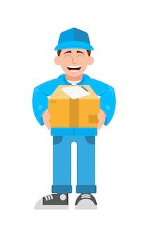 Милая улыбка молодого человека личного курьера от быстрой службы доставки для людей. держите большую коробку для получателя. скоростной транспорт, трансфер. дизайн стиля персонажа из мультфильма современного стиля иллюстрации плоский.