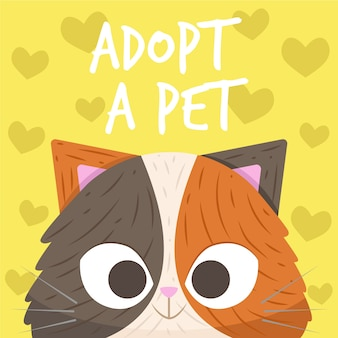 Cute smiley kitten adopt a pet concept