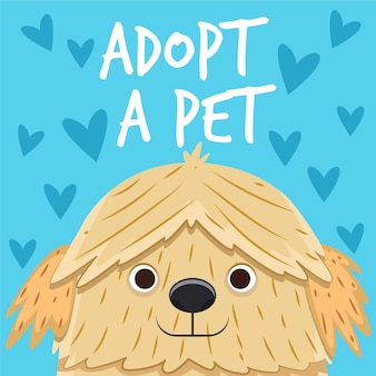 Cute smiley puppy adopt a pet concept