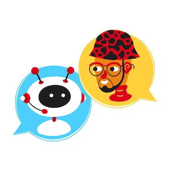 Cute smiling ai chat bot written with person man