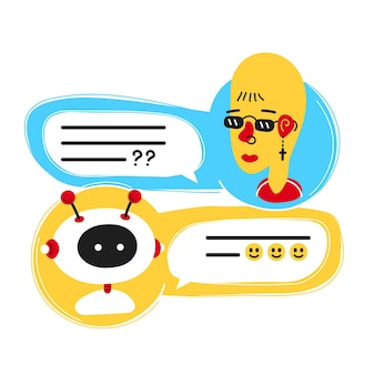 Cute smiling ai chat bot written with person woman