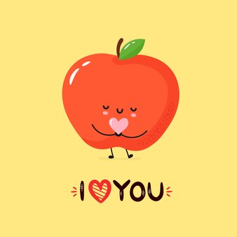 Милая иллюстрация яблока сь