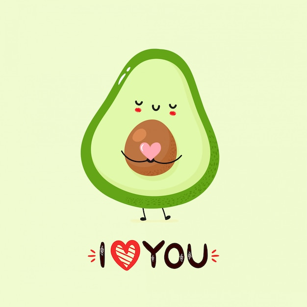 Cute smiling avocado post card