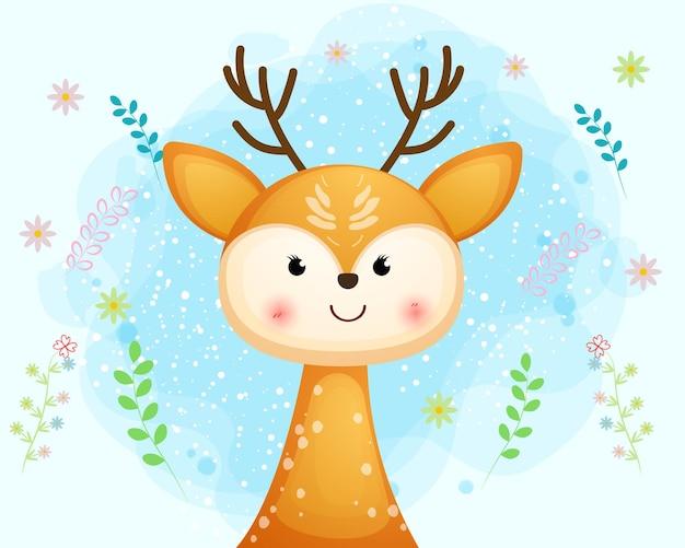 귀여운 웃는 아기 사슴