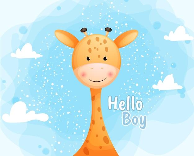 こんにちは男の子のテキストとかわいい笑顔の赤ちゃんキリン