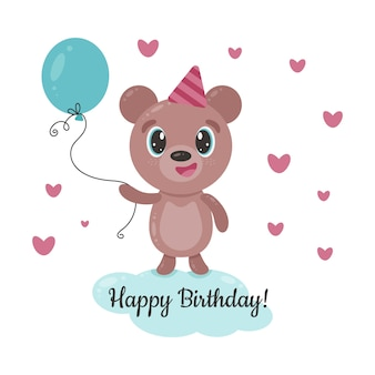Cute smiling bear with blue balloon