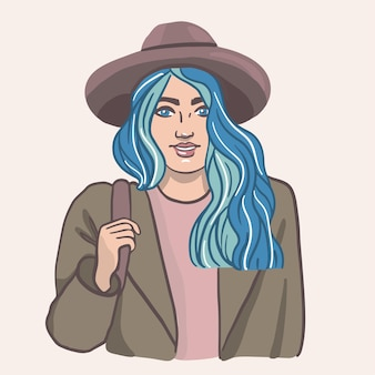 帽子とコートを着てかわいい笑顔の青い髪の少女