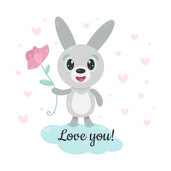 Cute smiling bunny with flower