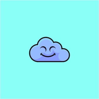 Cute smiling cloud cartoon illustration