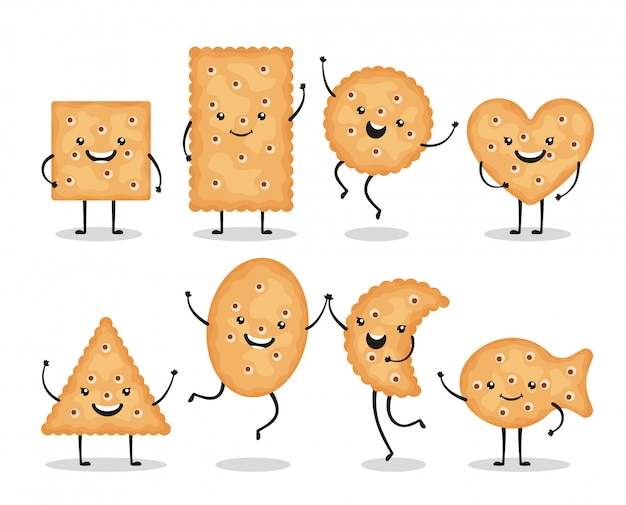 Cute smiling cracker chips different shapes isolated on white background. happy biscuit cookies characters, doodle snack - illustration