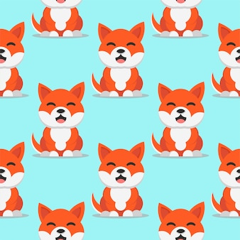 Cute smiling dog shiba inu japan breed vector seamless pattern