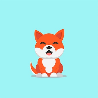 Cute smiling dog shiba inu japan breed vector