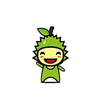 귀여운 웃는 두리안 캐릭터 만화 벡터 가와이이 플랫 스타일 만화 캐릭터 그림